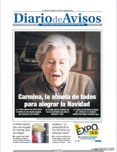 Carmina en la portada del Diario de Avisos