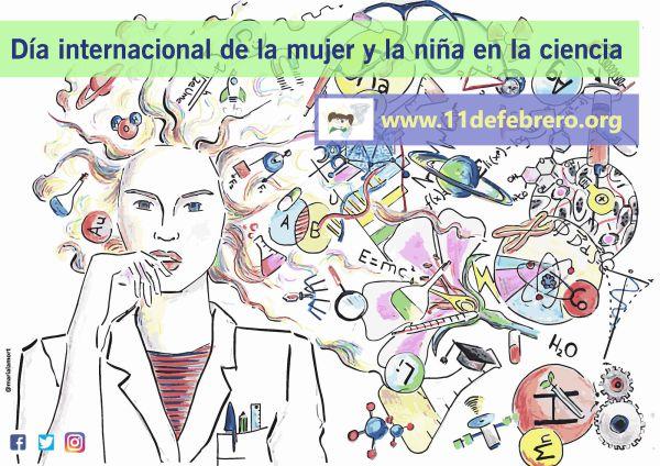 """Cartel del """"Día internacional de la mujer y la niña en la ciencia"""". Crédito: María del Álamo Ortega @marialamort"""